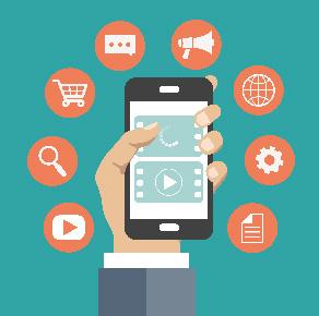 Ilustración de una mano sujetando un móvil para simular un Marketplace